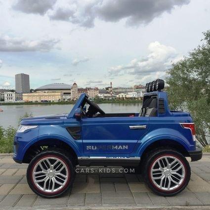 Полноприводный электромобиль Happer Р555ОС 2х местный синий (усиленный аккумулятор, резиновые колеса, кожа, пульт, музыка, ГЛЯНЦЕВАЯ ПОКРАСКА)