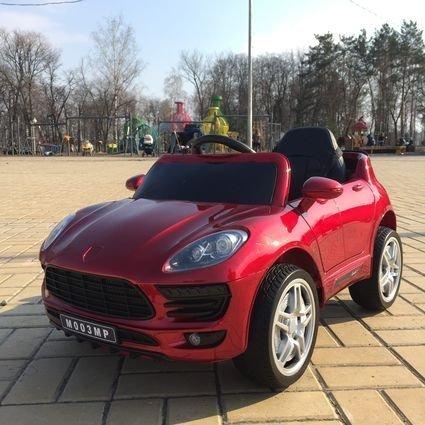 Электромобиль Porsche Macan красный (колеса резина, сиденье кожа, пульт, музыка)