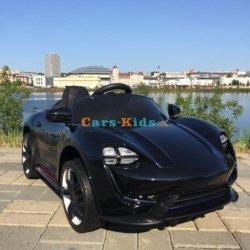 Электромобиль Porsche Sport М777МР черный (колеса резина, кресло кожа, пульт, музыка)