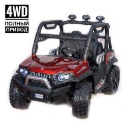 Электромобиль Baggy 3314 DLS02A красный (полный привод, резиновые колеса, кожаное кресло, пульт, музыка)